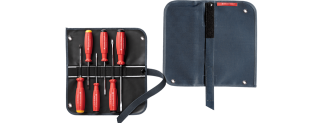 SwissGrip screwdriver set in a compact high-quality, 2-in-1 fabric roll-up case