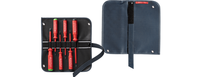 Classic VDE screwdriver set in a compact high-quality, 2-in-1 fabric roll-up case